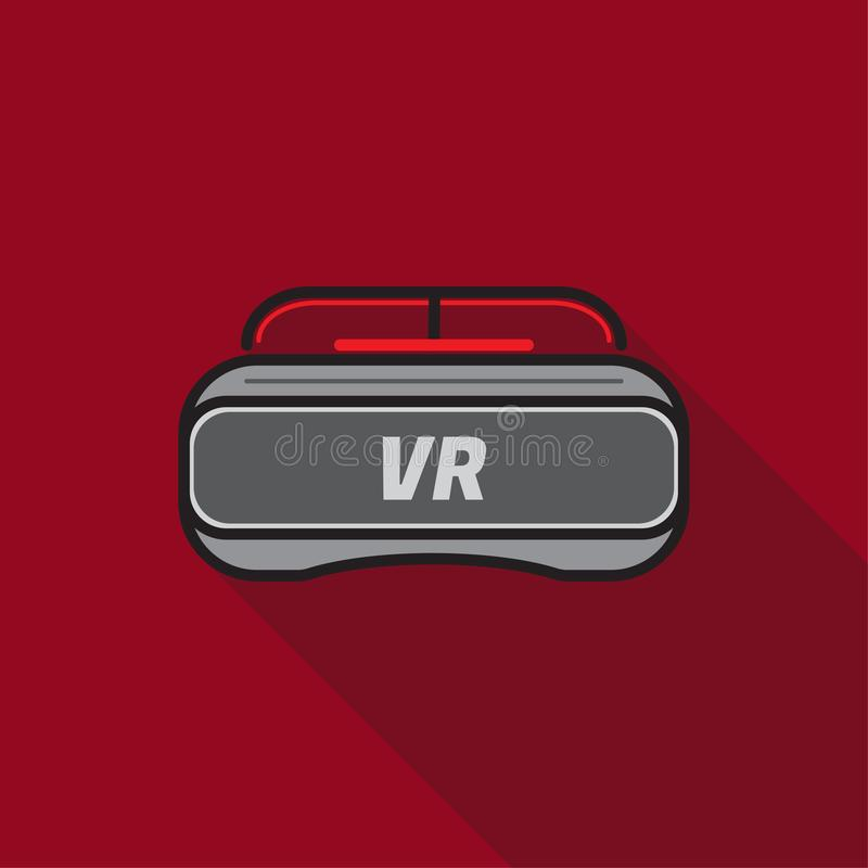Dünne Linie Farbikone des langen Hintergrundes des Schattens VR-Gläser roten vektor abbildung