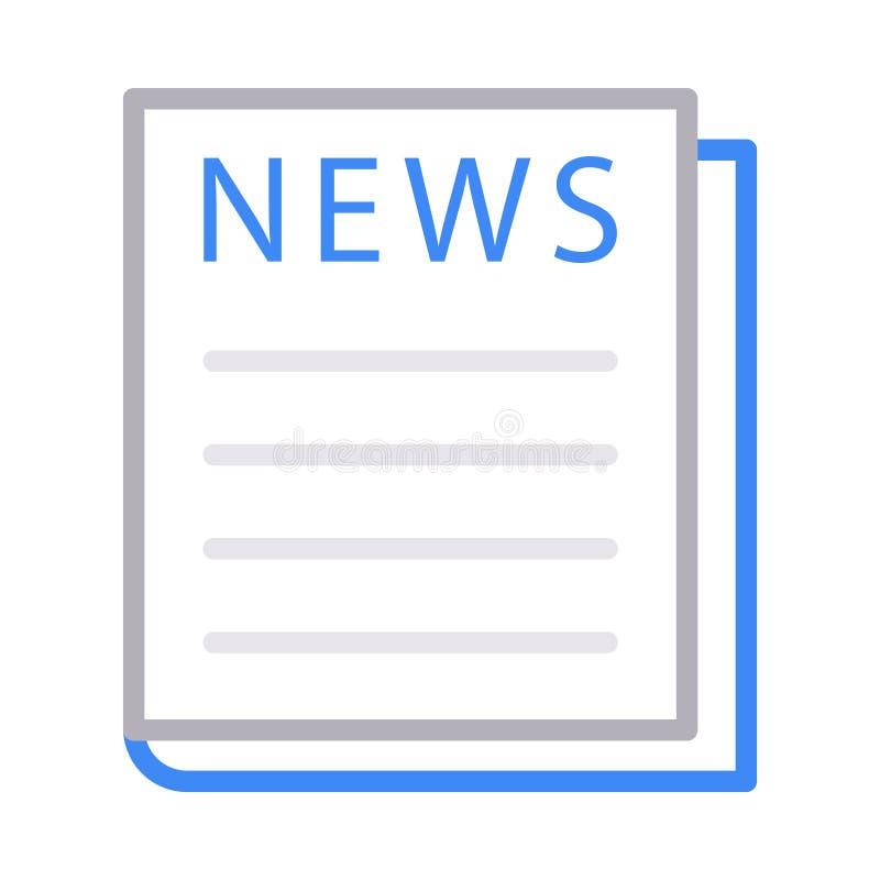 Dünne Linie Farbvektorikone der Zeitung lizenzfreie abbildung
