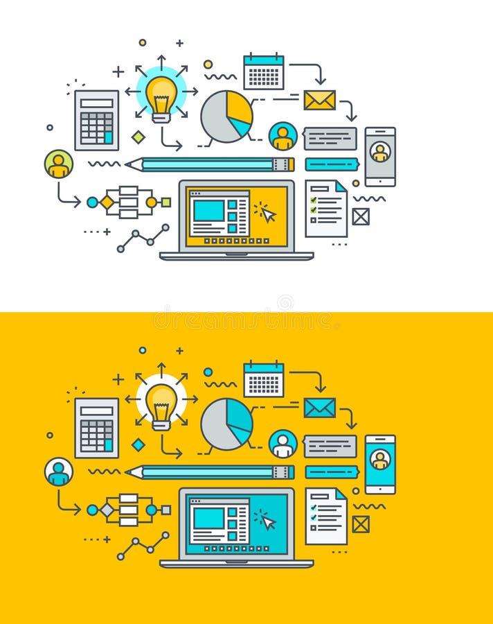 Dünne Linie flaches Konzept des Entwurfes auf dem Thema des kreativen Prozesses, Forschung, Analytik, Planung, Entwicklung lizenzfreie abbildung
