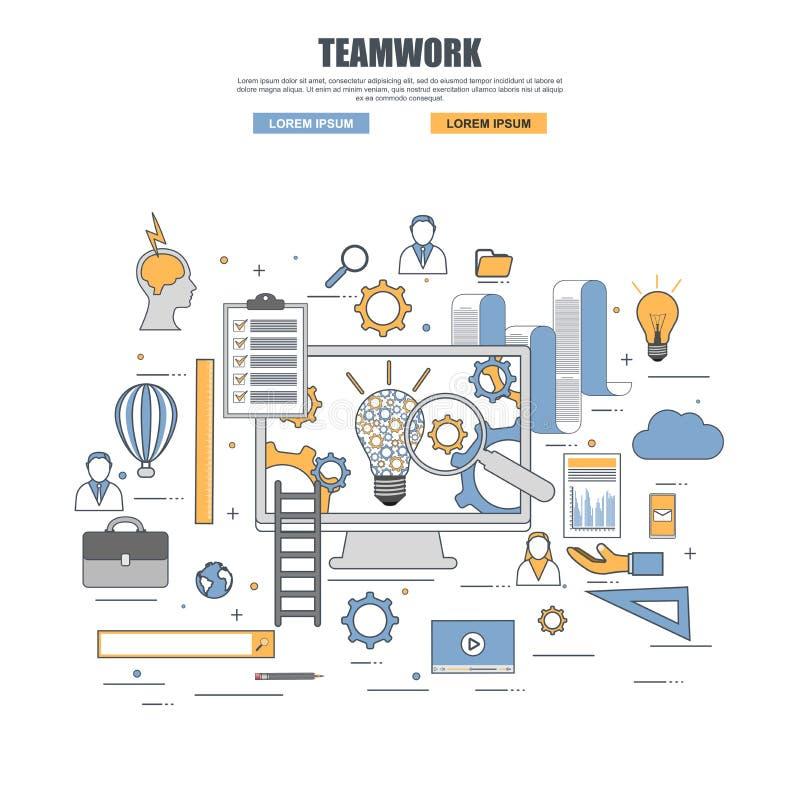 Dünne Linie flaches Konzept des Entwurfes der Teamwork lizenzfreie abbildung