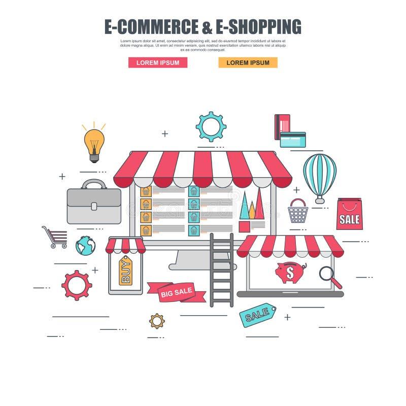 Dünne Linie flaches Konzept des Entwurfes von Kaufwaren im Online-Shop stock abbildung
