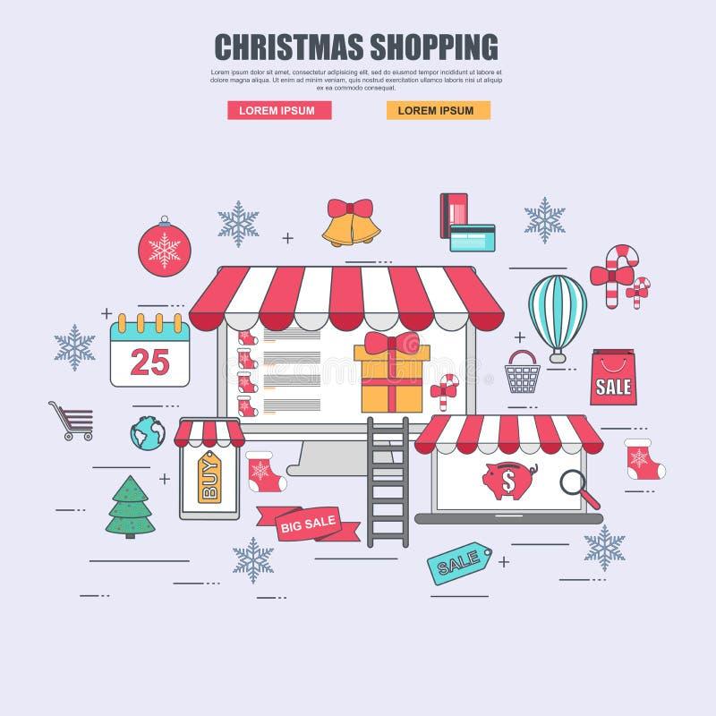 Dünne Linie flaches Konzept des Entwurfes von Kaufwaren im Online-Shop für Weihnachten stock abbildung