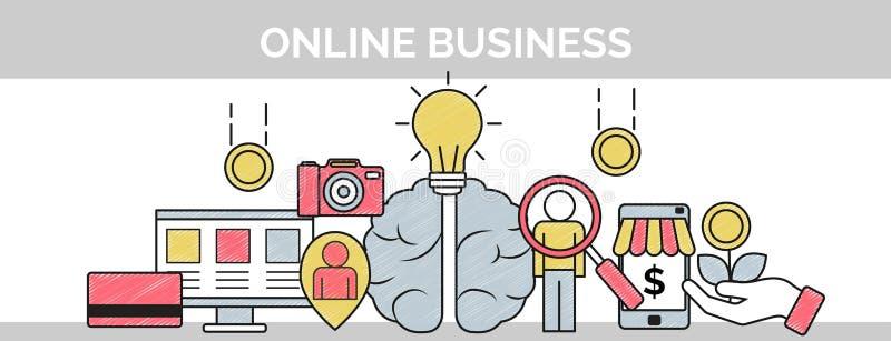 Dünne Linie Gekritzelfahne für on-line-Unternehmensplanung lizenzfreie abbildung