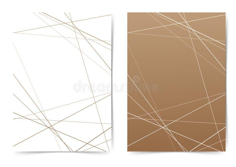 Dünne Linie geometrische Musterordner-Abdeckung Schablone lizenzfreie abbildung