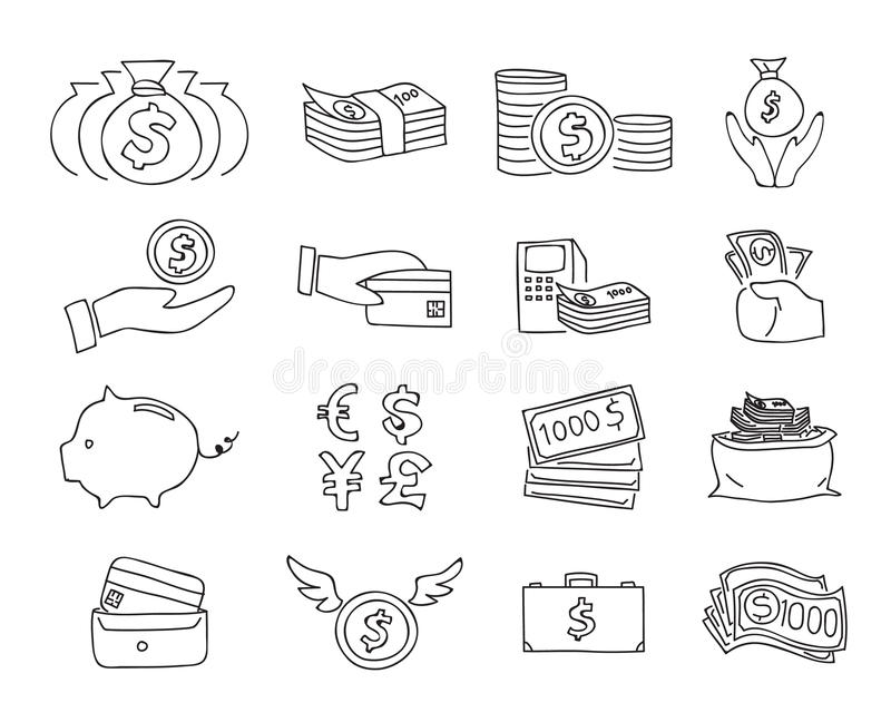 Dünne Linie gezeichnete Linie Kunstillustration des Geldes des Ikonenvektors gesetzte Hand stock abbildung