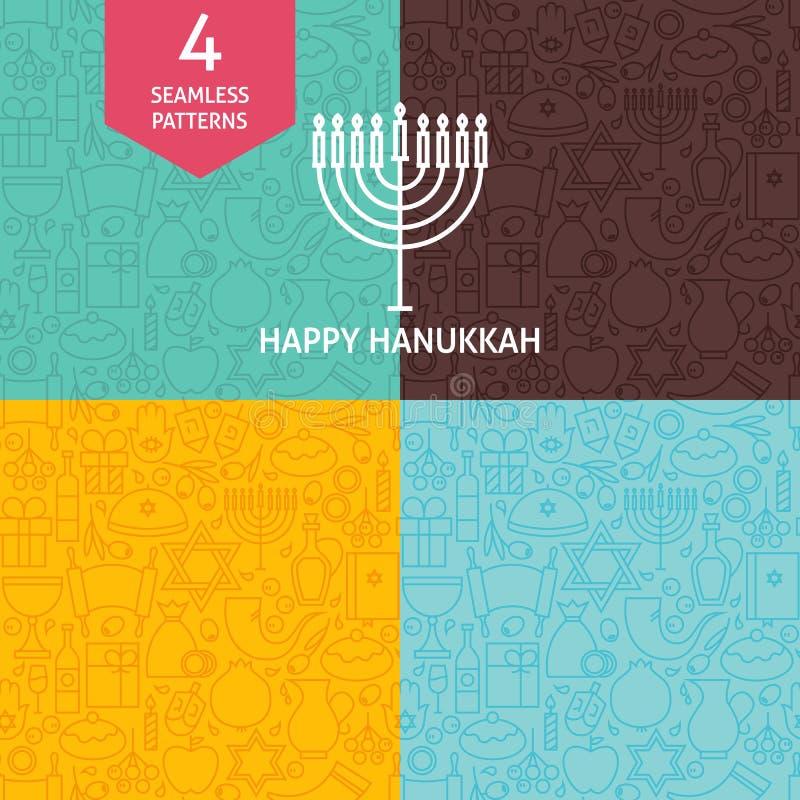 Dünne Linie glückliche Chanukka-Feiertags-Muster eingestellt stock abbildung