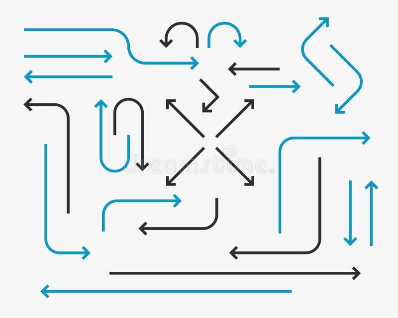 Dünne Linie großer Satz der Pfeile vektor abbildung