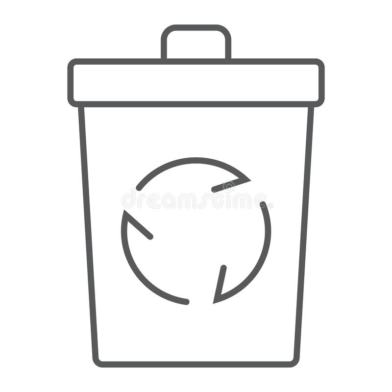 Dünne Linie Ikone, Ökologie des Papierkorbes lizenzfreie abbildung