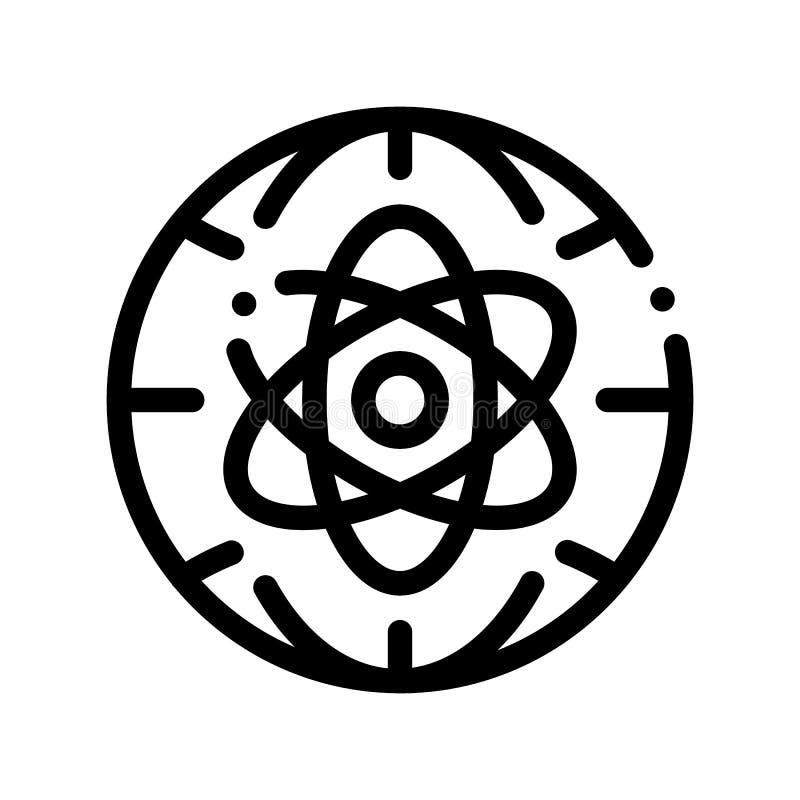 Dünne Linie Ikone Atom Planet Earth Problem Vectors stock abbildung