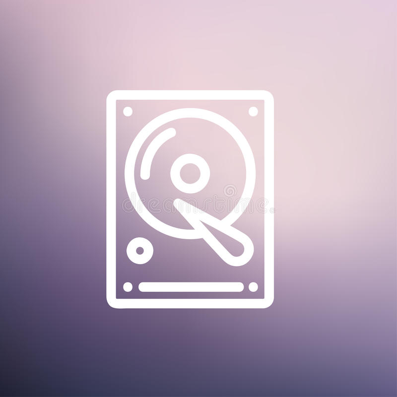 Dünne Linie Ikone der Festplatte lizenzfreie abbildung