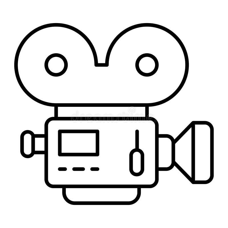 Dünne Linie Ikone der Filmkamera Retro- Kinovektorillustration lokalisiert auf Weiß Filmkameraentwurfs-Artentwurf lizenzfreie abbildung