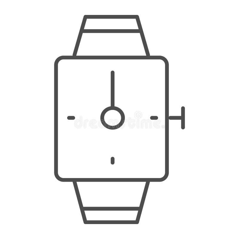 Dünne Linie Ikone der Handuhr Quadratische Armbanduhrvektorillustration lokalisiert auf Weiß Armbanduhrentwurfs-Artdesign lizenzfreie abbildung