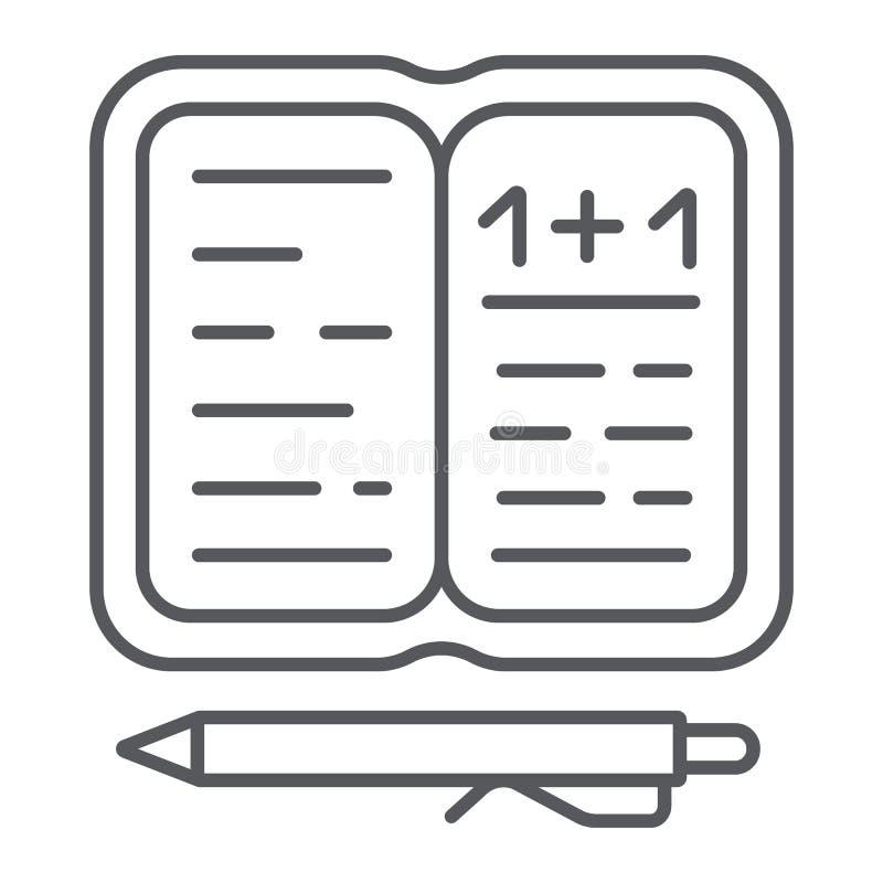 Dünne Linie Ikone der Hausarbeit, Papier und Schule, Notizbuch mit Stiftzeichen, Vektorgrafik, ein lineares Muster auf einem weiß lizenzfreie abbildung