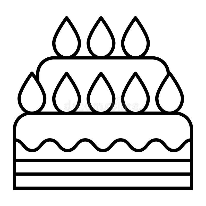 Dünne Linie Ikone der Hochzeitstorte Nachtischvektorillustration lokalisiert auf Weiß Süßer Entwurfsartentwurf, bestimmt für Netz lizenzfreie abbildung