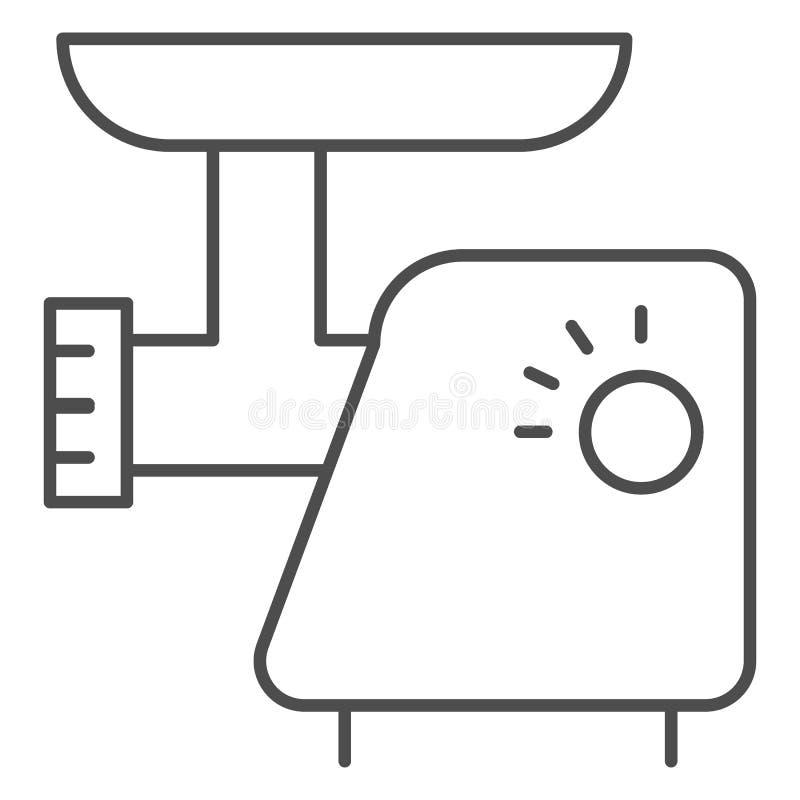 Dünne Linie Ikone der Küchenmaschine Elektrische Schleifervektorillustration lokalisiert auf Weiß Zerhackerentwurfs-Artentwurf lizenzfreie abbildung