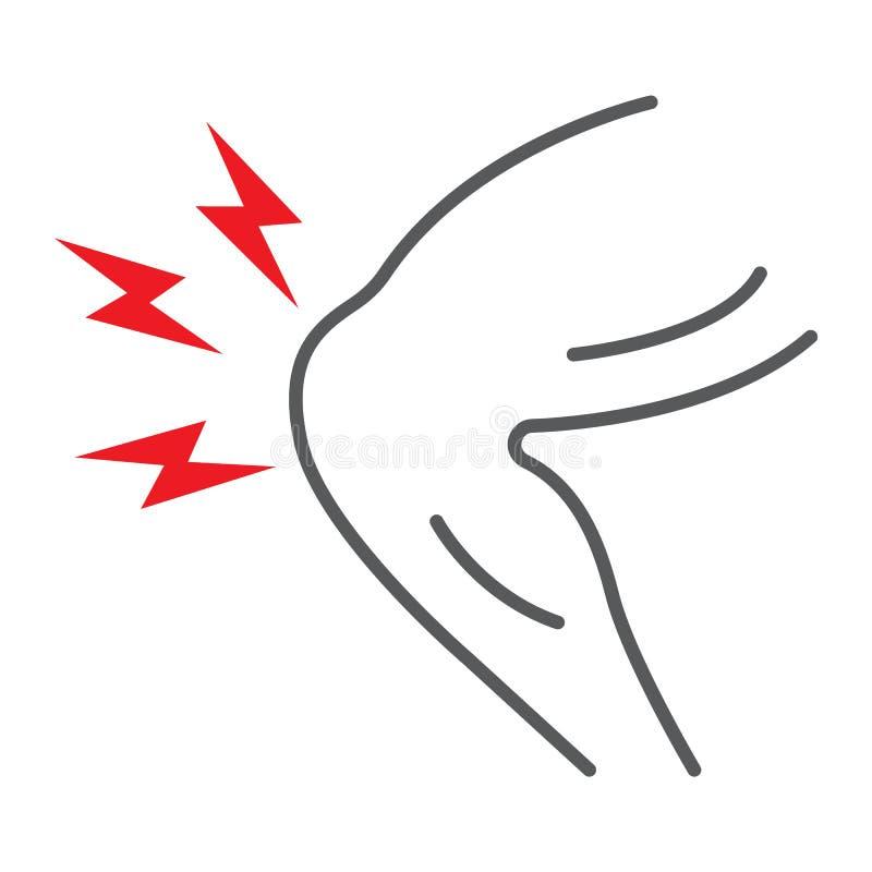 D?nne Linie Ikone der Knieschmerz, K?rper und Kranker, Beinschmerzzeichen, Vektorgrafik, ein lineares Muster auf einem wei?en Hin lizenzfreie abbildung