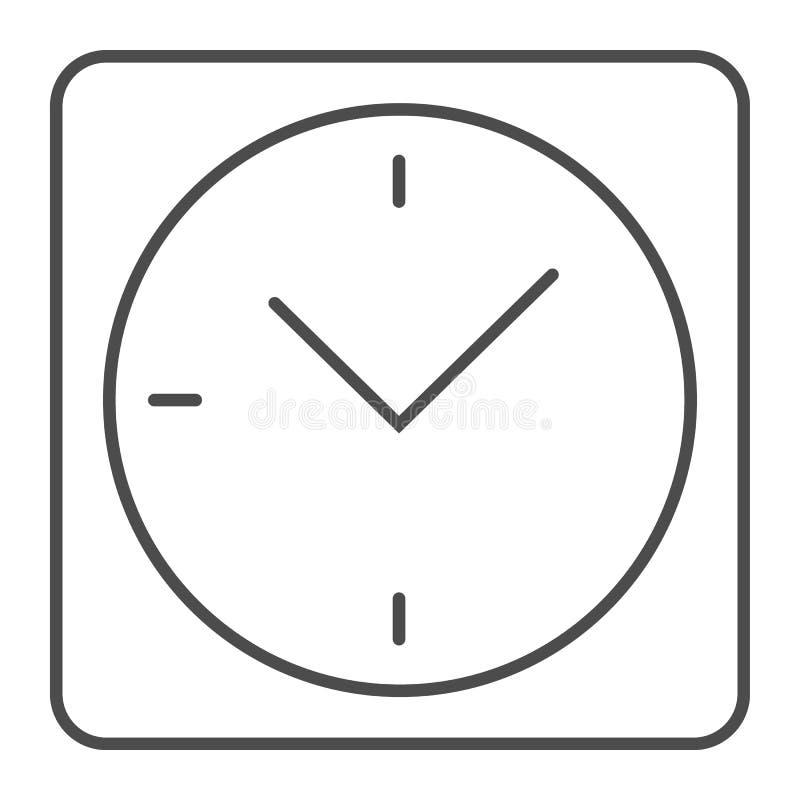 Dünne Linie Ikone der quadratischen Uhr Schreibtischuhr-Vektorillustration lokalisiert auf Weiß Uhrentwurfs-Artdesign, entworfen  lizenzfreie abbildung