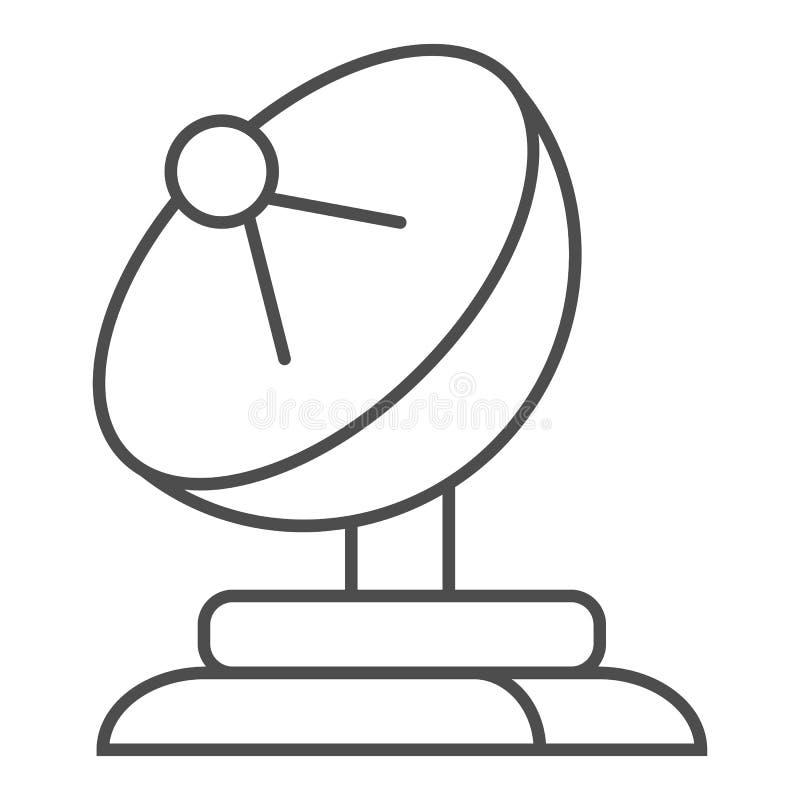 Dünne Linie Ikone der Satellitenschüssel Antennenvektorillustration lokalisiert auf Weiß Fernsehentwurfs-Artentwurf, entworfen lizenzfreie abbildung