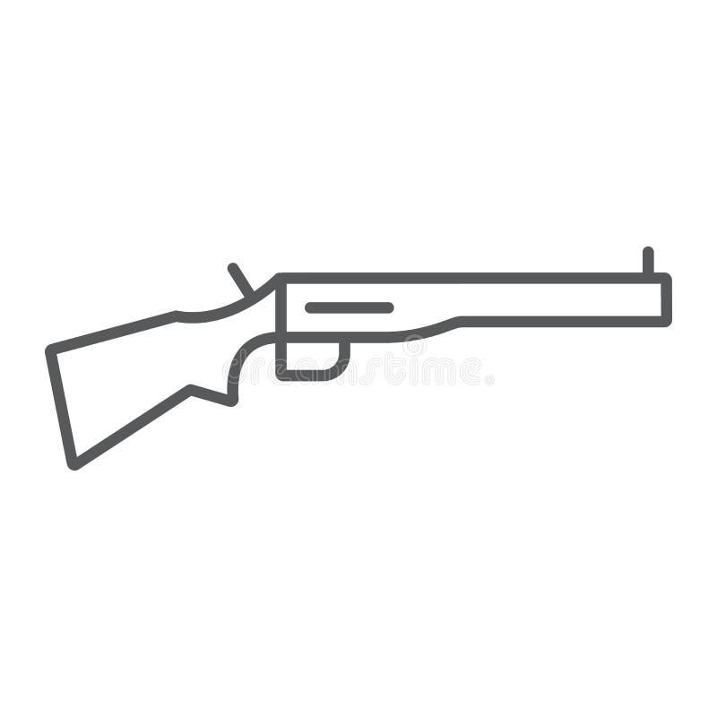 Dünne Linie Ikone der Schrotflinte, Waffe und Militär, Gewehrzeichen, Vektorgrafik, ein lineares Muster auf einem weißen Hintergr stock abbildung