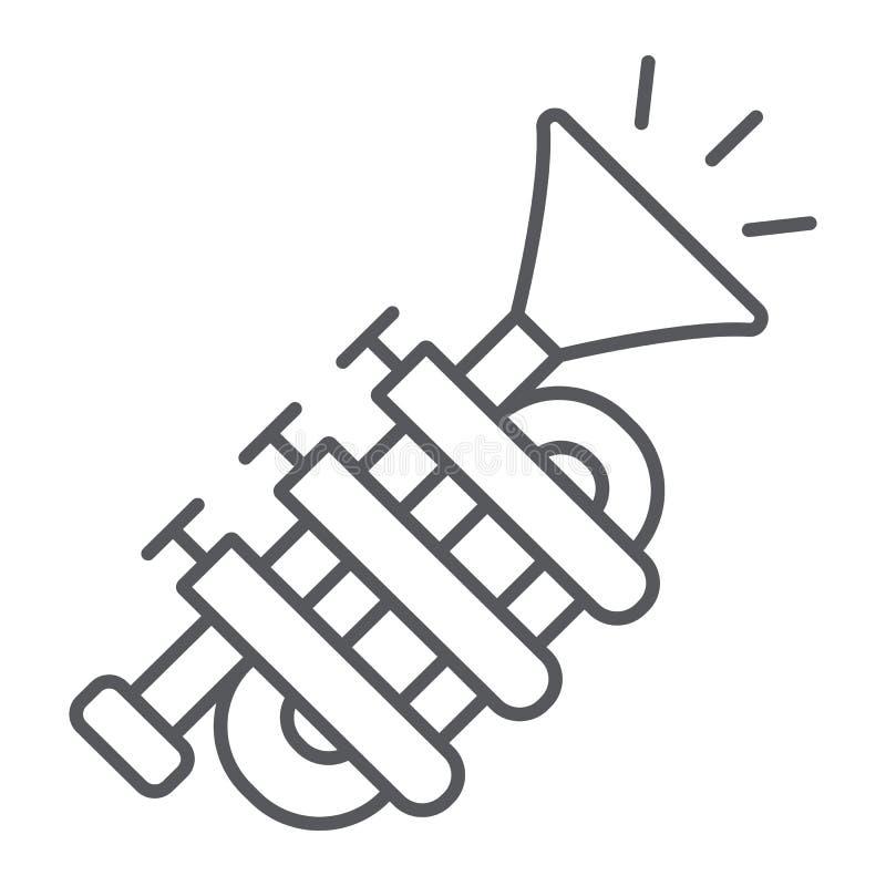 Dünne Linie Ikone der Tuba, Musik und Instrument, Trompetenzeichen, Vektorgrafik, ein lineares Muster auf einem weißen Hintergrun stock abbildung