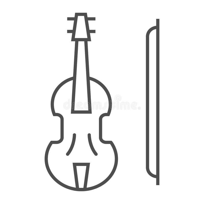 Dünne Linie Ikone der Violine, Musical und Instrument, Violazeichen, Vektorgrafik, ein lineares Muster auf einem weißen Hintergru stock abbildung