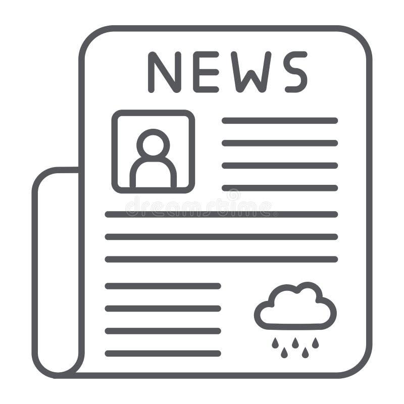 Dünne Linie Ikone der Zeitung, Seite und Presse, tägliches Nachrichtenzeichen, Vektorgrafik, ein lineares Muster auf einem weißen vektor abbildung