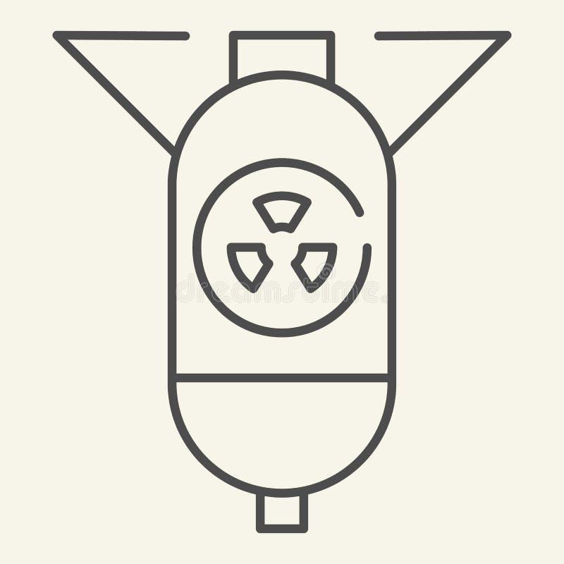 Dünne Linie Ikone des atomaren Gefechtskopfes Atombomben-Vektorillustration lokalisiert auf Weiß Kriegsführungsentwurfs-Artentwur stock abbildung