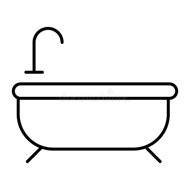 Dünne Linie Ikone des Bades Badewannenvektorillustration lokalisiert auf Weiß Badezimmerentwurfs-Artdesign, bestimmt für Netz und lizenzfreie abbildung