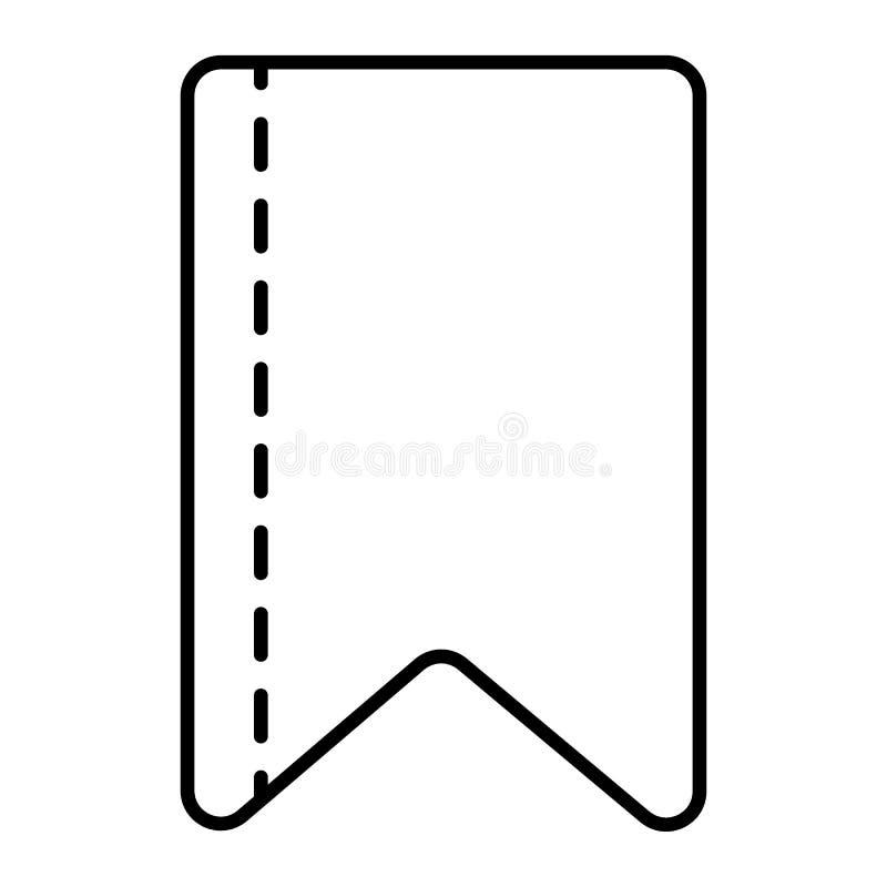 Dünne Linie Ikone des Bandstreifens Bookmarkvektorillustration lokalisiert auf Weiß Bandbandentwurfs-Artdesign, entworfen stock abbildung
