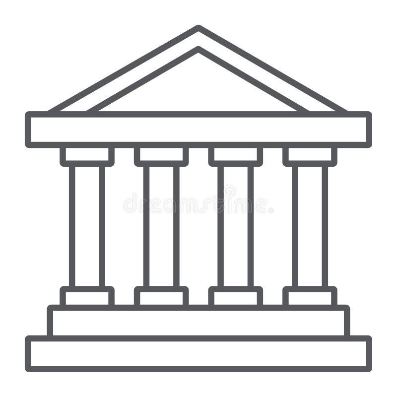 Dünne Linie Ikone des Bankgebäudes, Architektur und Spalte, Hausmarke, Vektorgrafik, ein lineares Muster auf einem weißen vektor abbildung