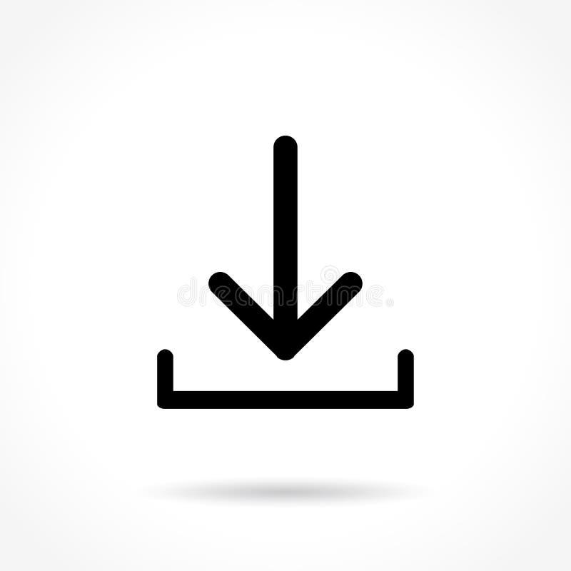 Dünne Linie Ikone des Downloads stock abbildung