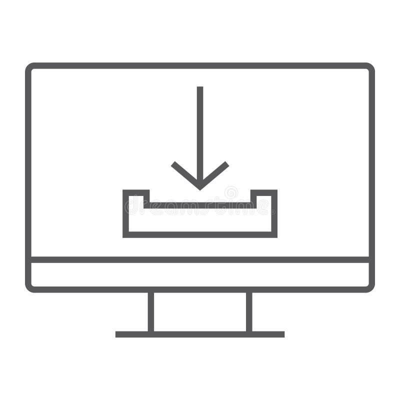Dünne Linie Ikone des Downloads, Computer und Downloading, Pfeilzeichen, Vektorgrafik, ein lineares Muster auf einem weißen Hinte lizenzfreie abbildung