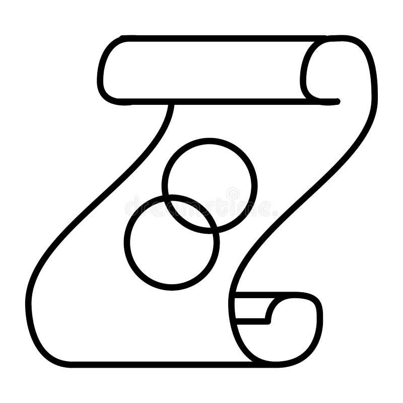 Dünne Linie Ikone des Ehegelübdes Skript mit der Ringvektorillustration lokalisiert auf Weiß Papierrollenentwurfsartentwurf vektor abbildung