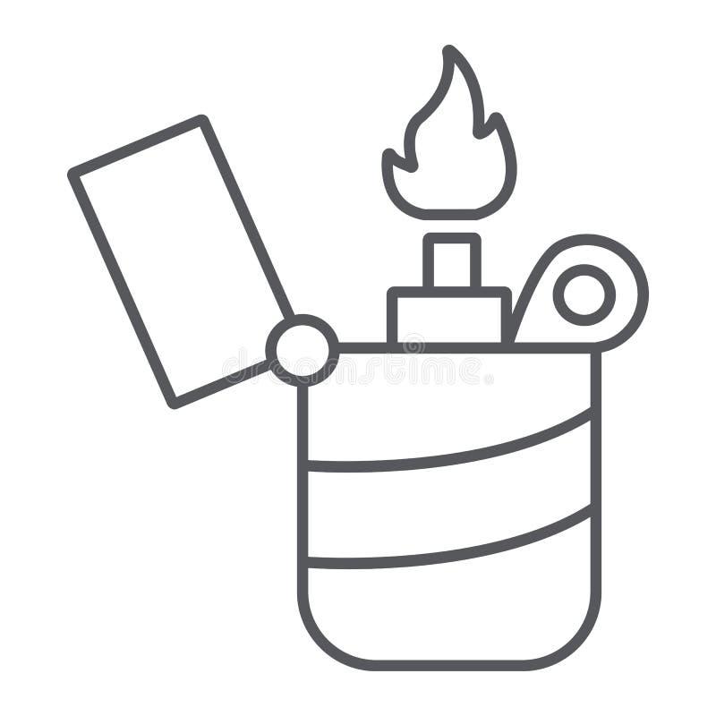 Dünne Linie Ikone des Feuerzeugs, Feuer und Brand, Flammenzeichen, Vektorgrafik, ein lineares Muster auf einem weißen Hintergrund stock abbildung
