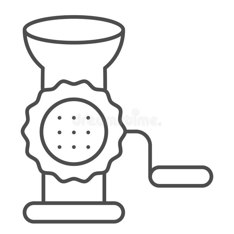 Dünne Linie Ikone des Fleischwolfs Handschleifer-Vektorillustration lokalisiert auf Weiß Zerhackerentwurfs-Artentwurf, entworfen stock abbildung