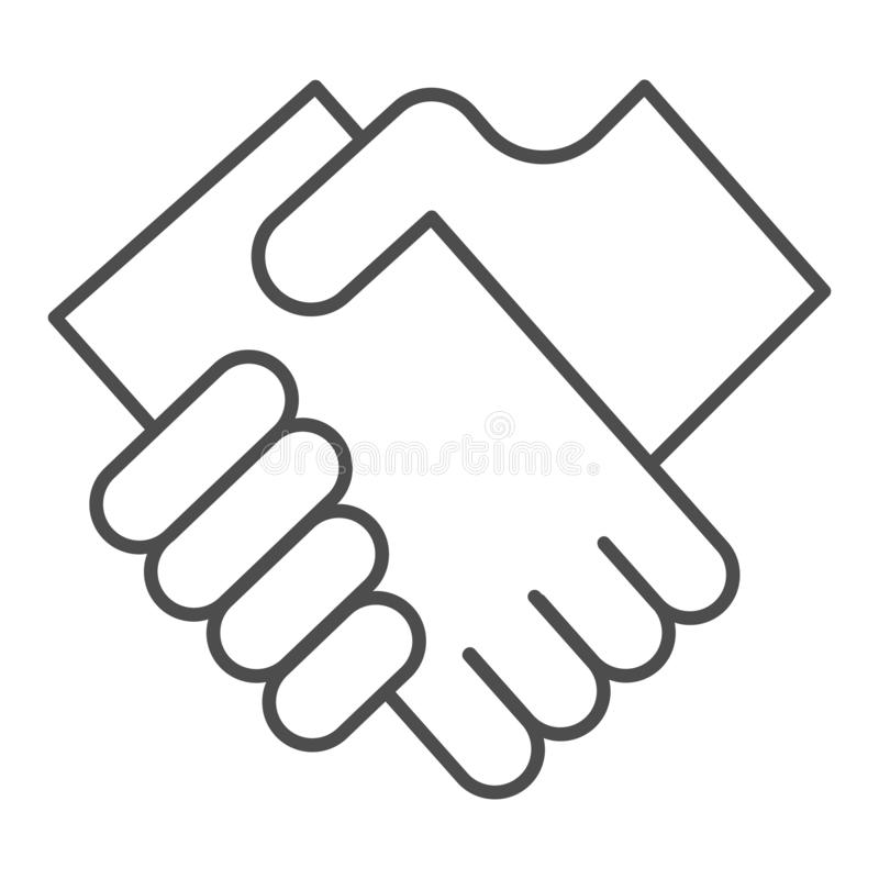 Dünne Linie Ikone des Geschäftshändedrucks Hände, welche die Vektorillustration lokalisiert auf Weiß rütteln Vereinbarungsentwurf lizenzfreie abbildung