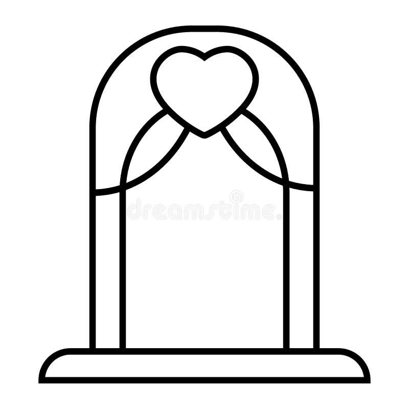 Dünne Linie Ikone des Hochzeitsbogens Altarvektorillustration lokalisiert auf Weiß Bogenentwurfs-Artdesign, bestimmt für Netz vektor abbildung