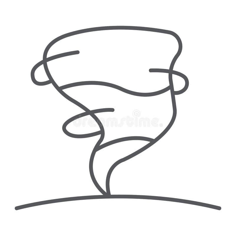 Dünne Linie Ikone des Hurrikans, Wetter und Meteorologie, Wirbelsturmzeichen, Vektorgrafik, ein lineares Muster auf einem weißen  stock abbildung