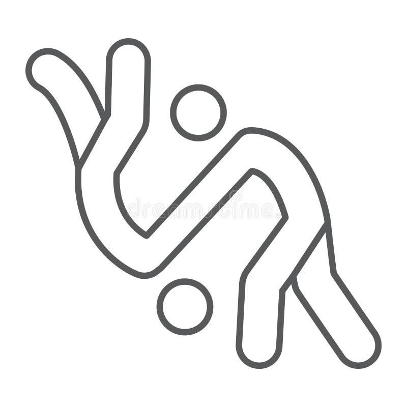 Dünne Linie Ikone des Judos, Sport und Kampf, Karatezeichen, Vektorgrafik, ein lineares Muster auf einem weißen Hintergrund stock abbildung