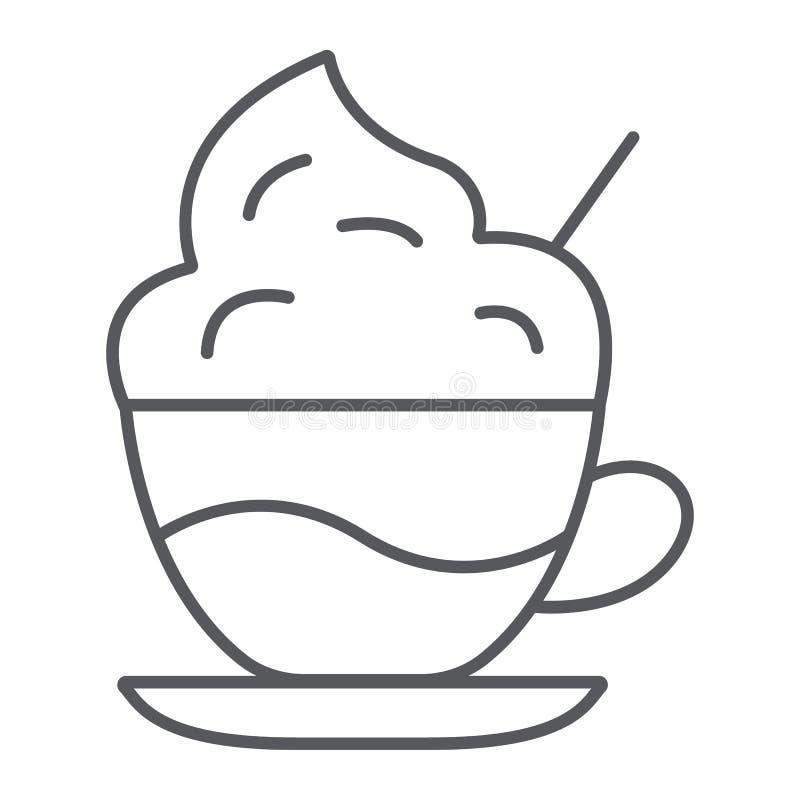 Dünne Linie Ikone des Kaffees mit Sahne, Kaffee und Schale, Kaffee mit Schaumzeichen, Vektorgrafik, ein lineares Muster auf einem stock abbildung