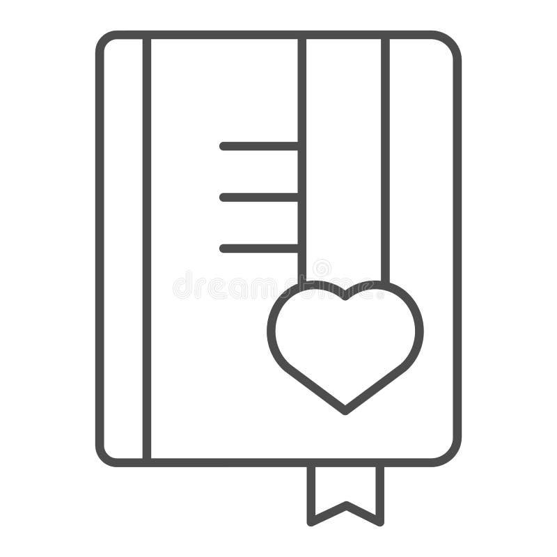 Dünne Linie Ikone des Mädchentagebuchs Buchvektorillustration lokalisiert auf Wei? Notizblockentwurfs-Artentwurf, bestimmt f?r Ne lizenzfreie abbildung