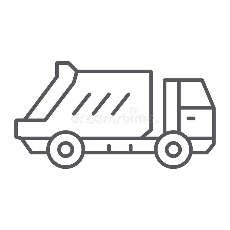 Dünne Linie Ikone des Müllwagens, Transport und Selbst-, überschüssiges Lastwagenzeichen, Vektorgrafik, ein lineares Muster auf e vektor abbildung