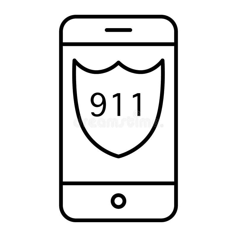 Dünne Linie Ikone des Notrufs 911 Rufen Sie Schirm mit der Illustration mit 911 Zahlen an, die auf Weiß lokalisiert wird Schildze vektor abbildung