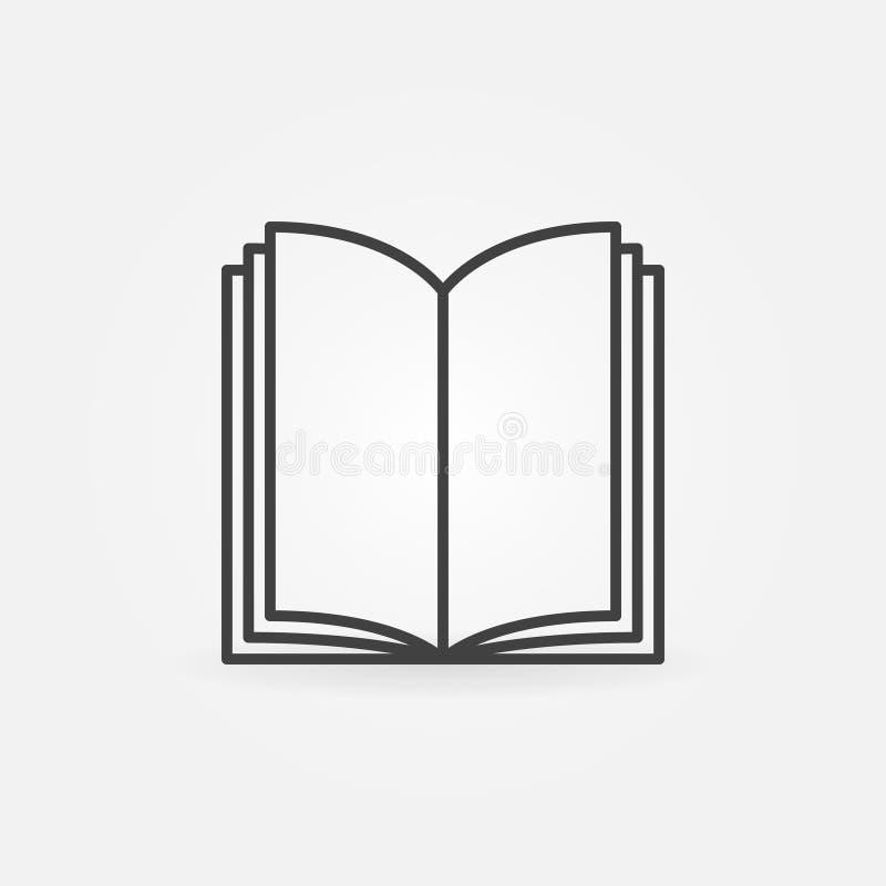 Dünne Linie Ikone des offenen Buches vektor abbildung