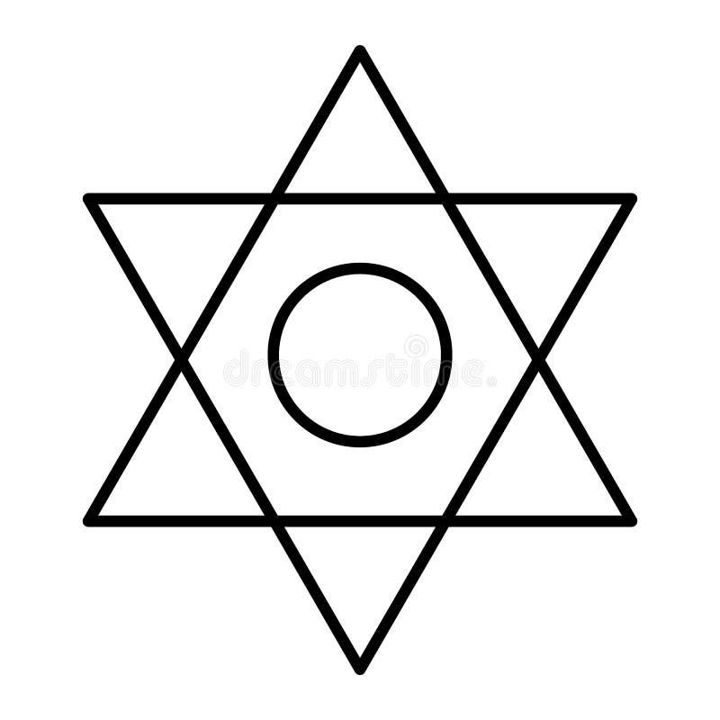 Dünne Linie Ikone des Pentagram Sechs gezeigte Sternvektorillustration lokalisiert auf Weiß Davidsstern Entwurfsartdesign stock abbildung