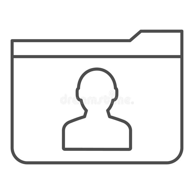 Dünne Linie Ikone des persönlichen Ordners r r vektor abbildung