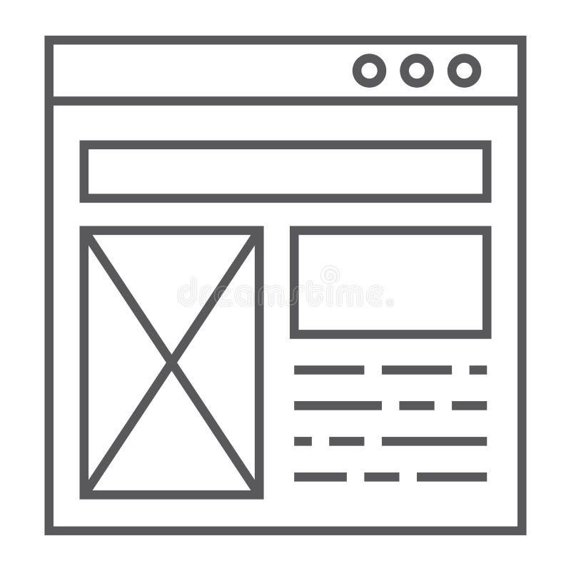 Dünne Linie Ikone des Plans, Website und Entwurf, Schablonenfensterzeichen, Vektorgrafik, ein lineares Muster auf einem weißen Hi stock abbildung