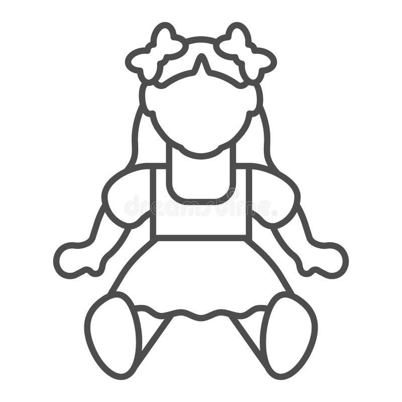 Dünne Linie Ikone des Puppenmädchens Spielzeugvektorillustration lokalisiert auf Weiß Kinderspielzeugentwurfs-Artentwurf, bestimm stock abbildung