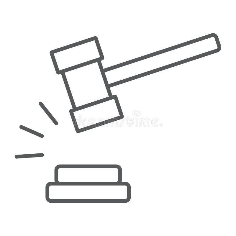 Dünne Linie Ikone des Richterhammers, Urteil und Gesetz, Auktionshammerzeichen, Vektorgrafik, ein lineares Muster auf einem weiße stock abbildung
