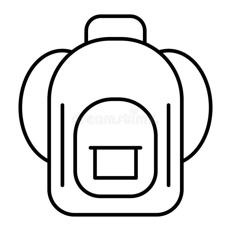 Dünne Linie Ikone des Rucksacks Schultaschevektorillustration lokalisiert auf Weiß Gepäckentwurfs-Artdesign, entworfen für stock abbildung